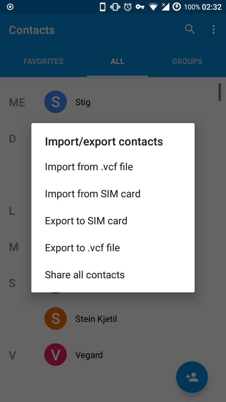 Contact app import prompt